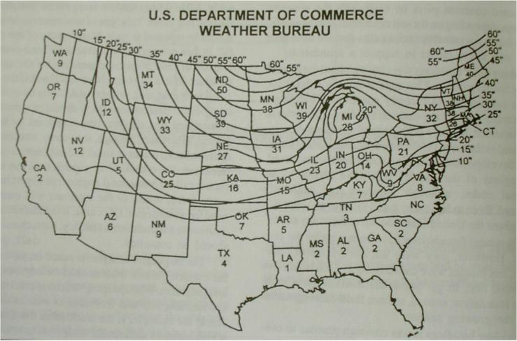 U.S. Frost Line Map